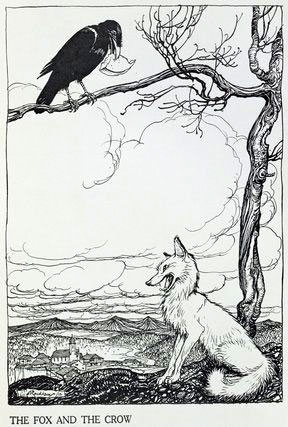 The Fox and the Crow, illustration by Arthur Rackham from 'Aesop's Fables', published by Heinemann, 1912