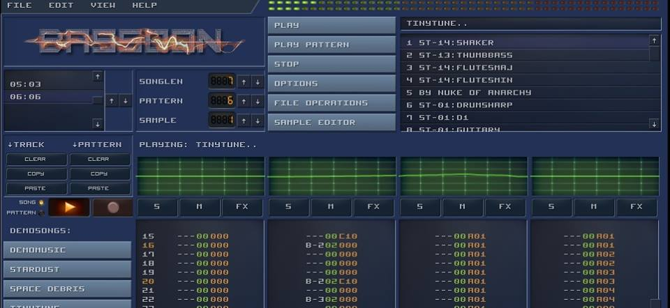 Amiga mod music online: Bassoon Tracker