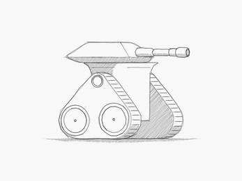 tank procedural generator with cross hatch drawing style